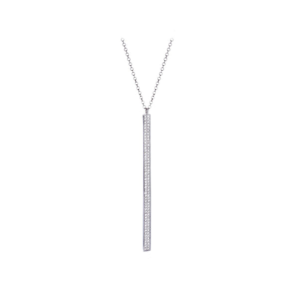 Diamonds & 14K White Gold Dangle Stick Necklace - SOLD