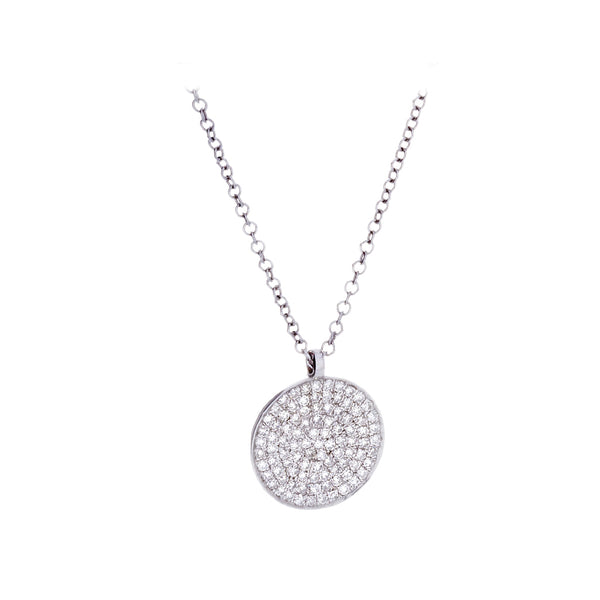 Diamonds & 14K White Gold Disk Necklace
