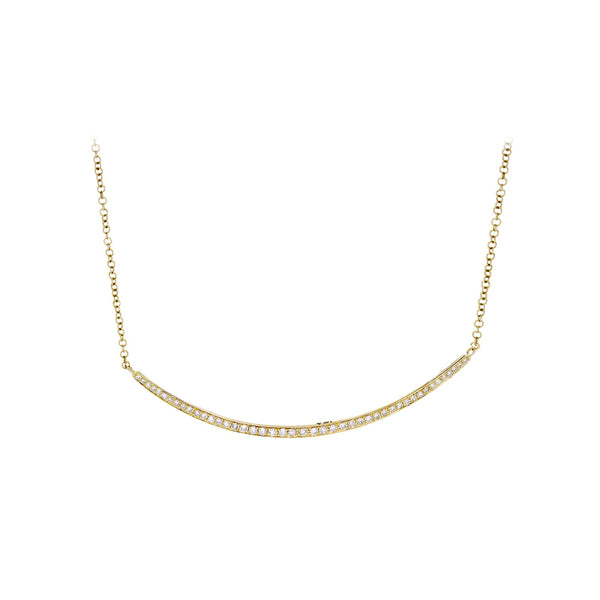 Diamonds & 14K Yellow Gold Curved Bar Necklace