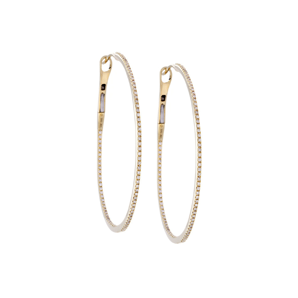 Diamonds & 14K Yellow Gold Hoop Earrings