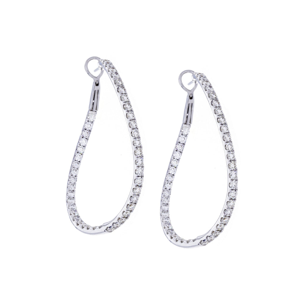 Diamonds & 18K White Gold Curved Hoop Earrings