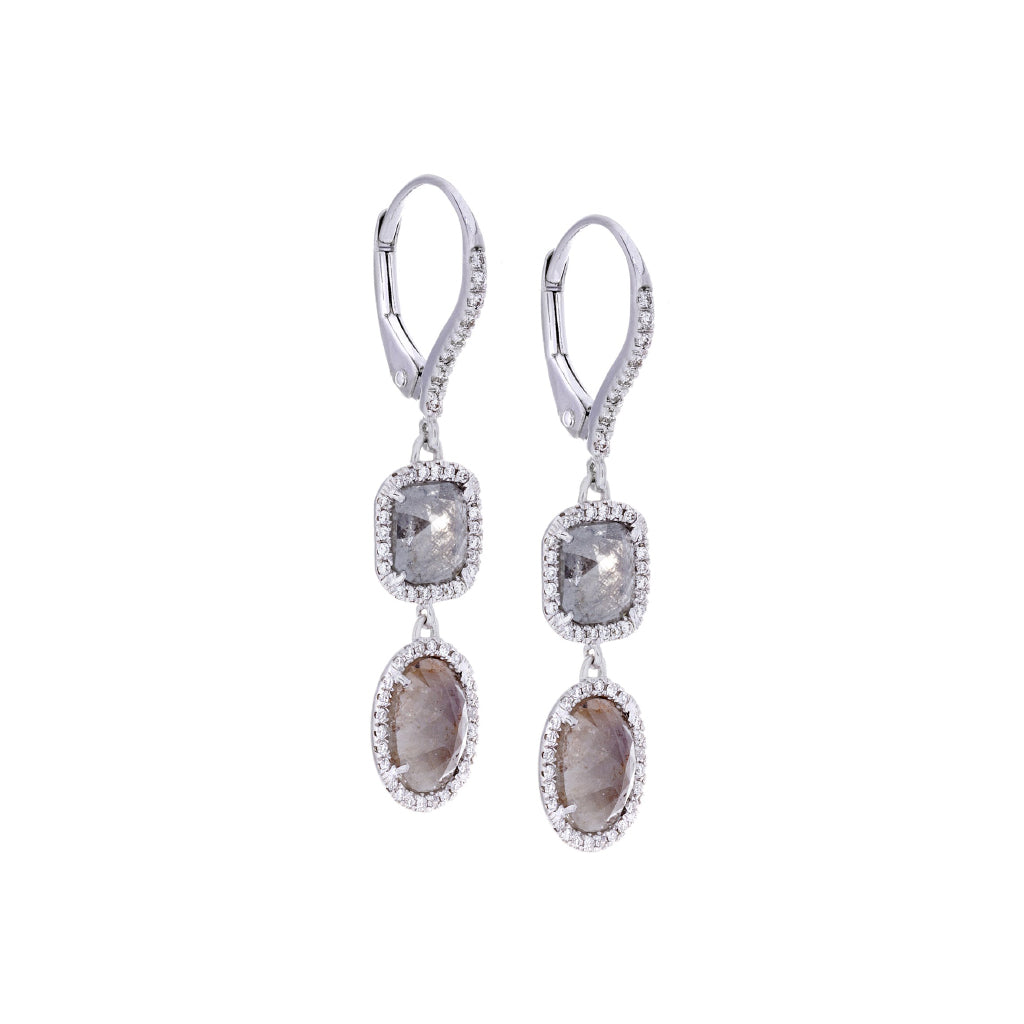 Diamonds & 18K White Gold Earrings
