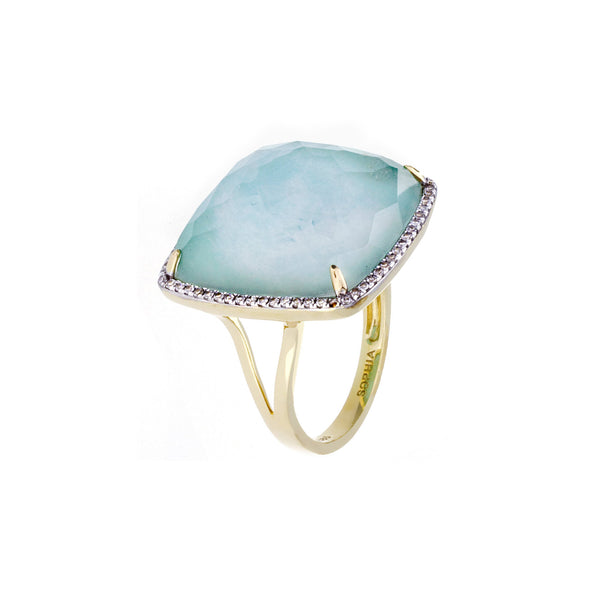 Diamonds, Crystal Amazonite & 18K Yellow Gold Ring - SOLD