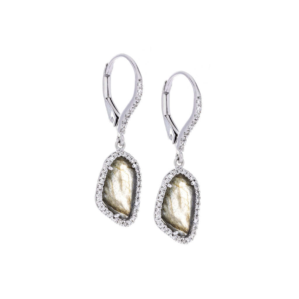 Diamonds, Labradorite & 14K White Gold Earrings-SOLD/CAN BE SPECIAL ORDERED WITH 4-6 WEEKS DELIVERY TIME FRAME