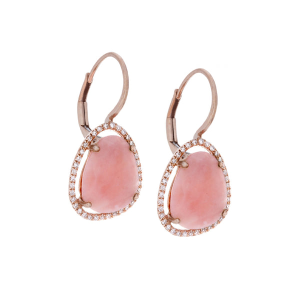 Diamonds, Pink Opal & 14K Rose Gold Earrings - SOLD/CAN BE SPECIAL ORDERED WITH 4-6 WEEKS DELIVERY TIME FRAME
