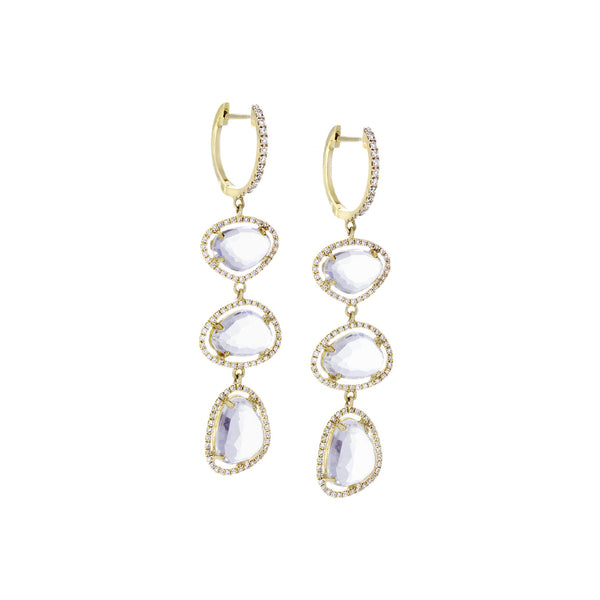 Diamonds, White Topaz & 14K Yellow Gold Earrings