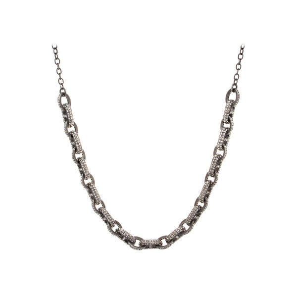 Diamond & Sterling Silver Chunky Link Necklace- SOLD/CAN BE SPECIAL ORDERED WITH 4-6 WEEKS DELIVERY TIME FRAME