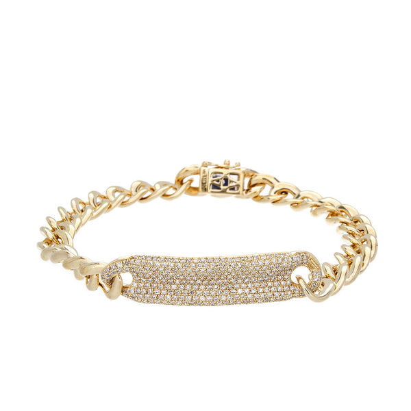 Diamond & 14K Yellow Gold ID Bracelet-SOLD/CAN BE SPECIAL ORDERED WITH 4-6 WEEKS DELIVERY TIME FRAME