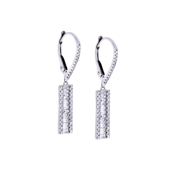 Diamond & 14K White Gold Earrings