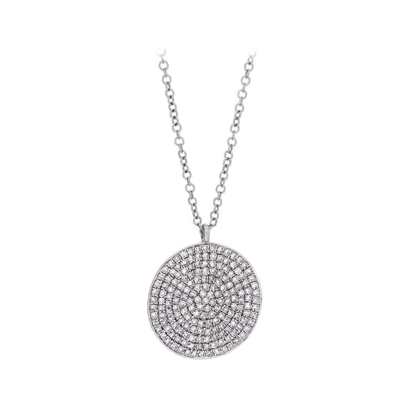 Diamond & 14K White Gold Shield Pendant Necklace - SOLD/CAN BE SPECIAL ORDERED WITH 4-6 WEEKS DELIVERY TIME FRAME