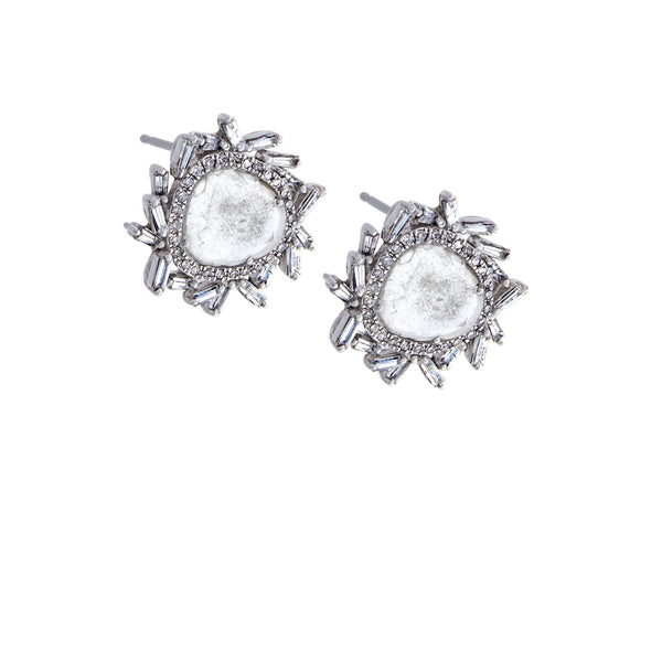 Diamond Burst 18K White Gold Cluster Earrings