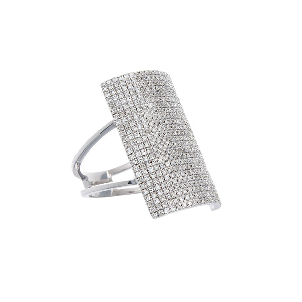 Diamond Pavé & 14K White Gold Shield Ring