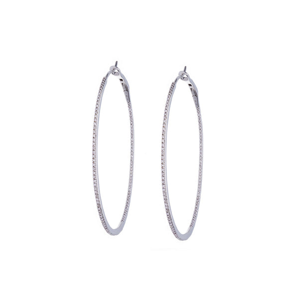 Diamonds & 14K White Gold Hoop Earrings
