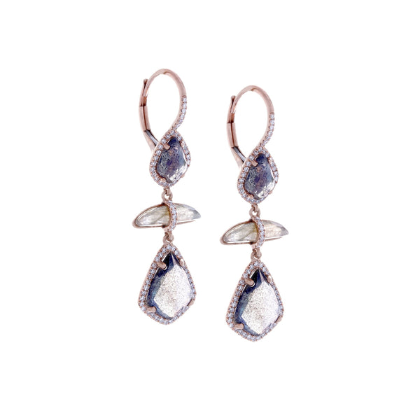 Labradorite, Diamonds & 14K Rose Gold Earrings