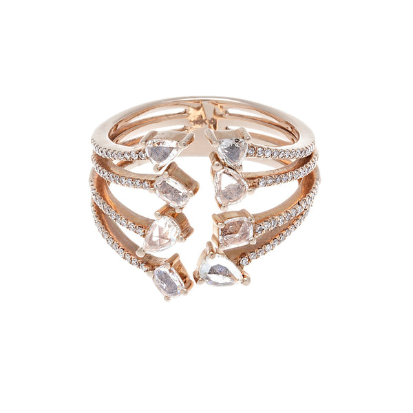 Eight Diamond, Pavé & 14K Rose Gold Geo Ring