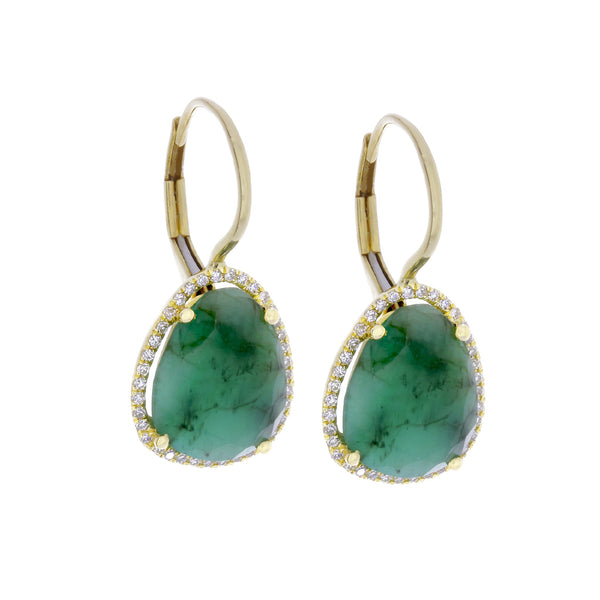 Green Emerald, Diamonds & 14K Yellow Gold Earrings