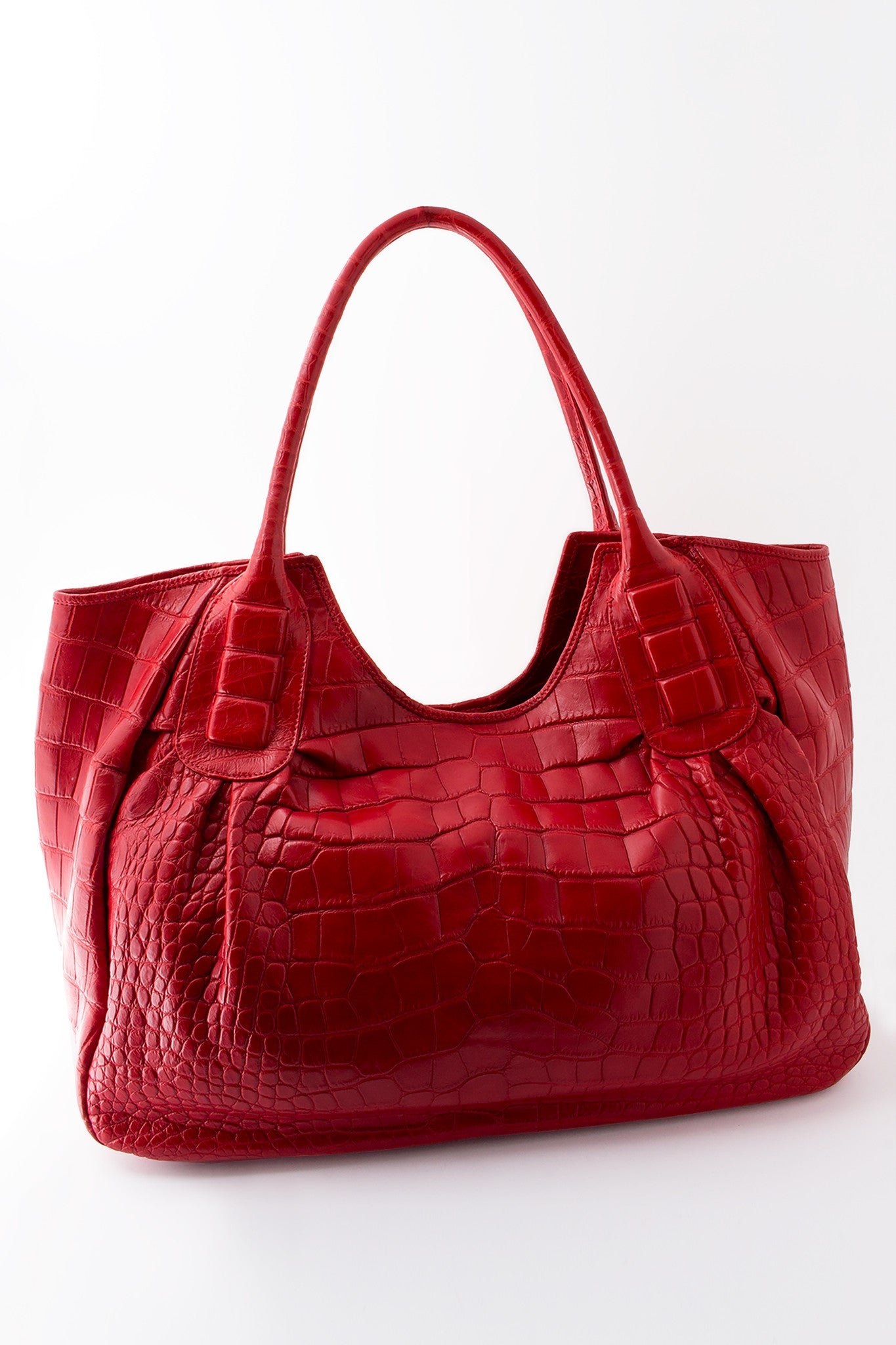 Sophia African Crocodile Bag - Maldives Red