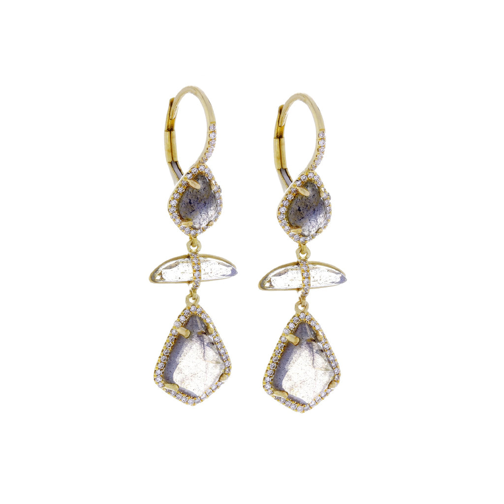 Labradorite, Diamonds & 14K Yellow Gold Earrings