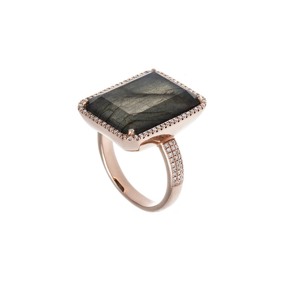 Labradorite, Diamond & 14K Rose Gold Cocktail Ring-SOLD/CAN BE SPECIAL ORDERED WITH 4-6 WEEKS DELIVERY TIME FRAME