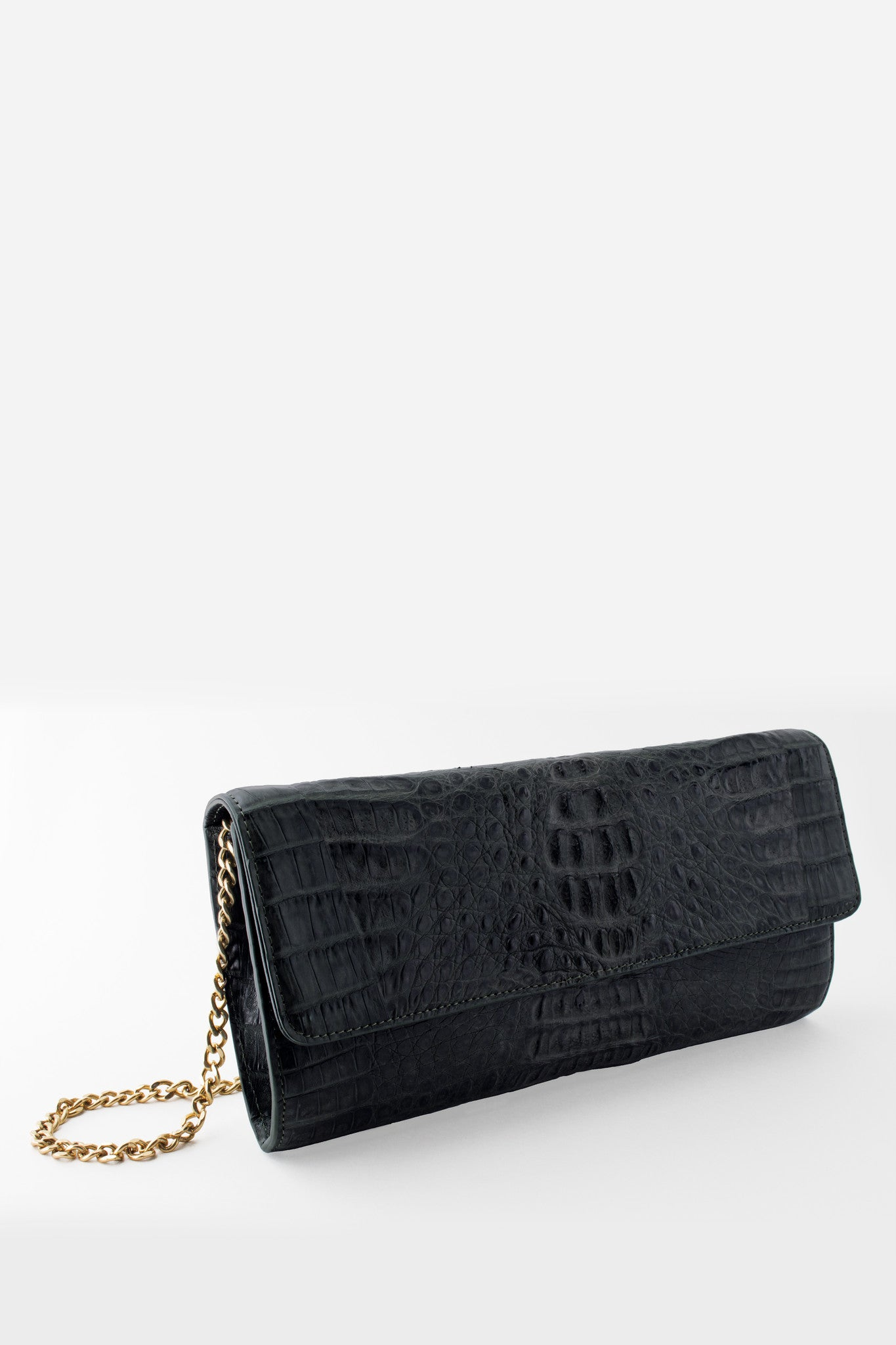 Morgan Columbian Crocodile Hornback Flap Clutch - Black