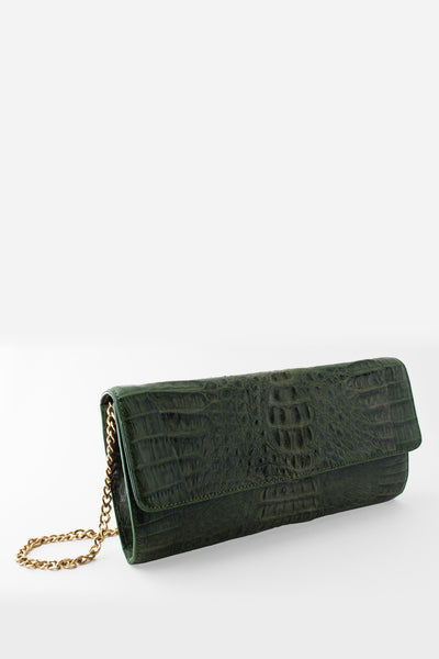 Morgan Columbian Crocodile Hornback Flap Clutch - Cyprus Green