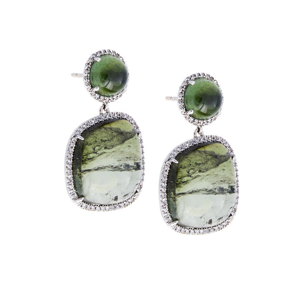 Pavé Diamond, Green Tourmaline & 14K White Gold Dangle Stud Earrings