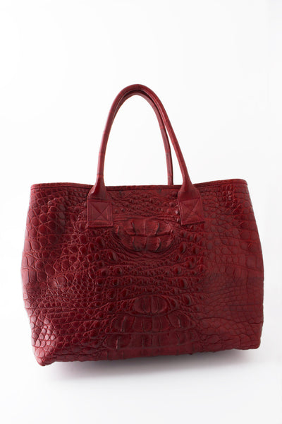 Rolls Royce Medium African Crocodile Bag - Tamise Burgundy