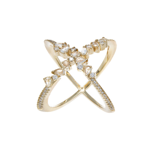 Rosecut Diamond, Pavé & 14K Yellow Gold X Ring - SOLD