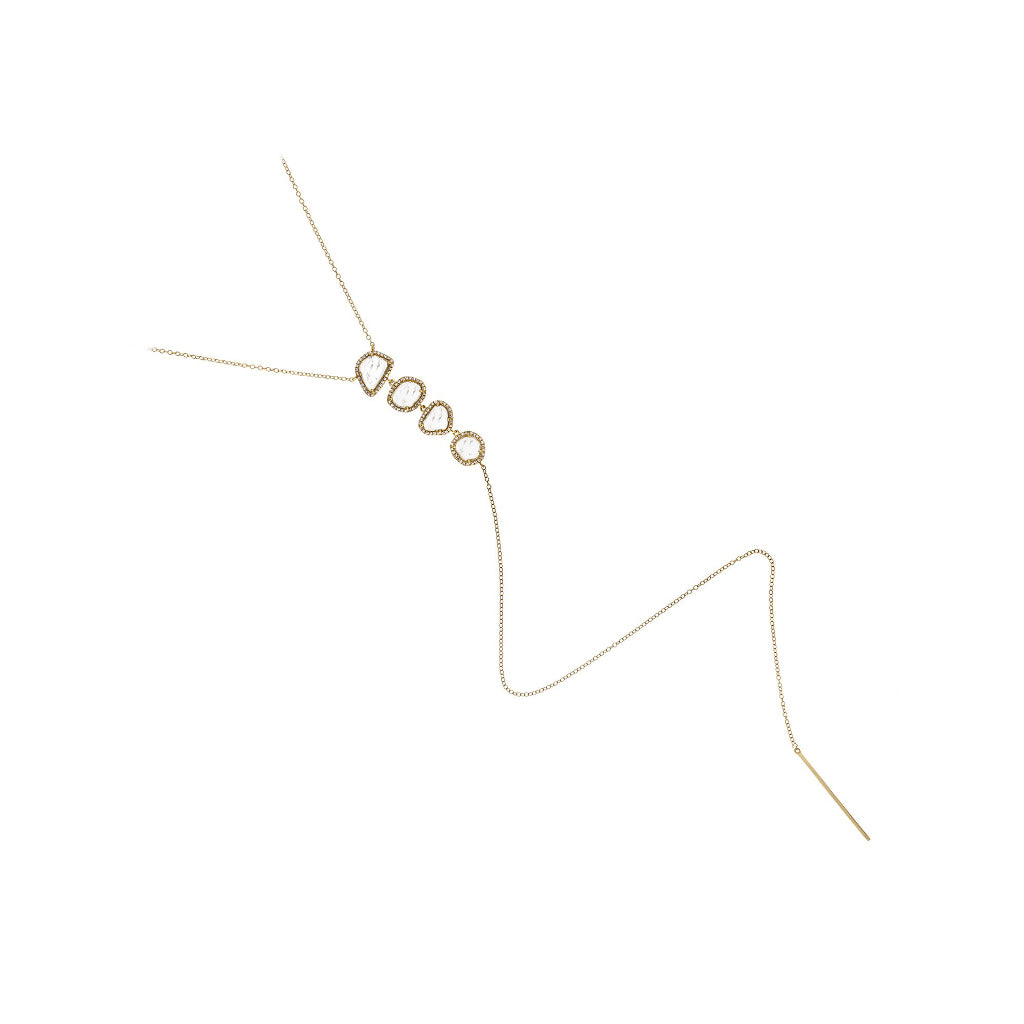 Sliced Diamonds Yellow Gold Lariat Necklace