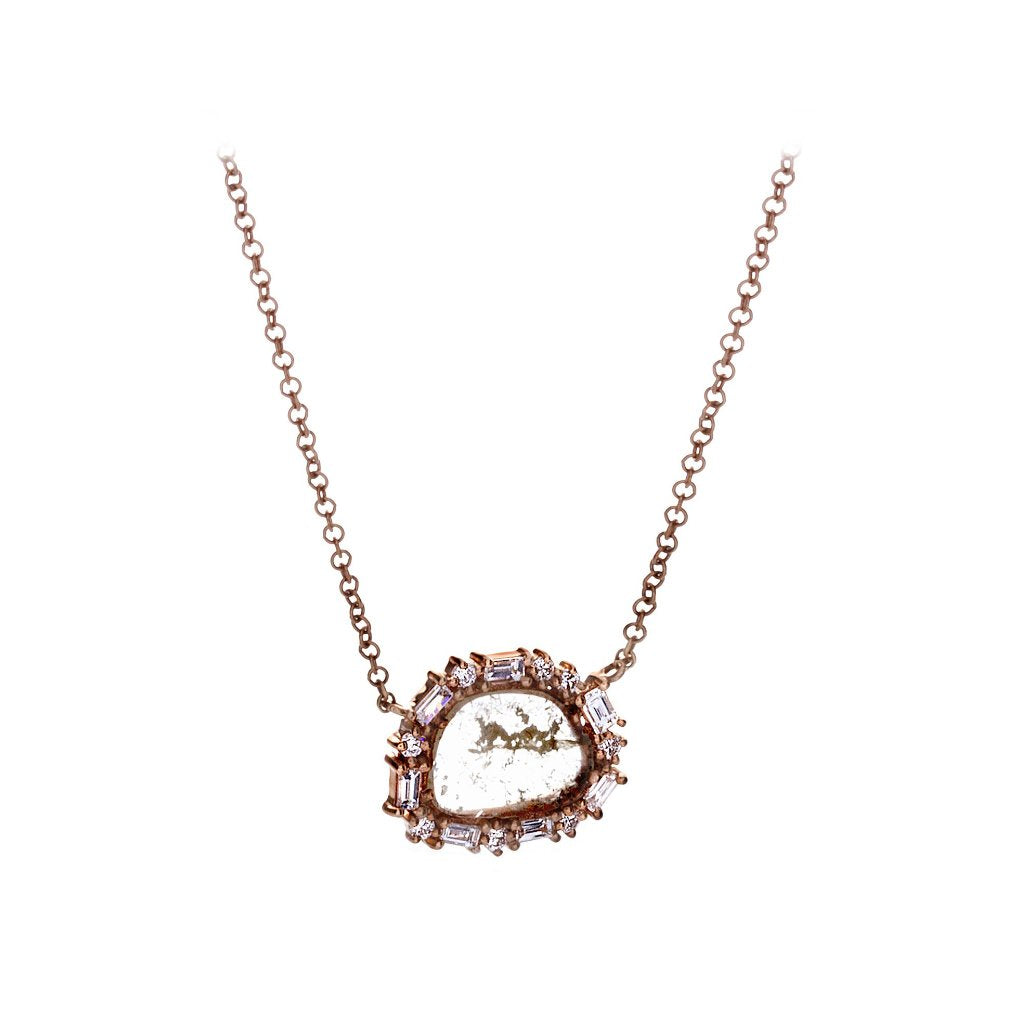 Sliced/Baguette Diamonds & 14K Rose Gold Necklace