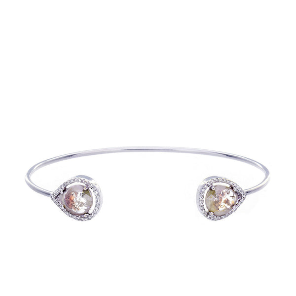 Sliced Diamond & 14K White Gold Cuff Bracelet
