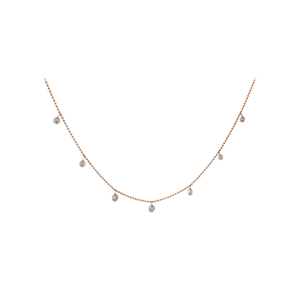 Floating Diamonds & 18K Rose Gold Necklace - SOLD/CAN BE SPECIAL ORDERED WITH 4-6 WEEKS DELIVERY TIME FRAME