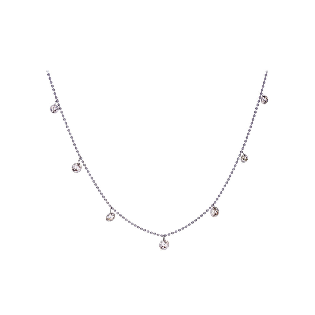 Floating Diamonds & 18K White Gold Necklace