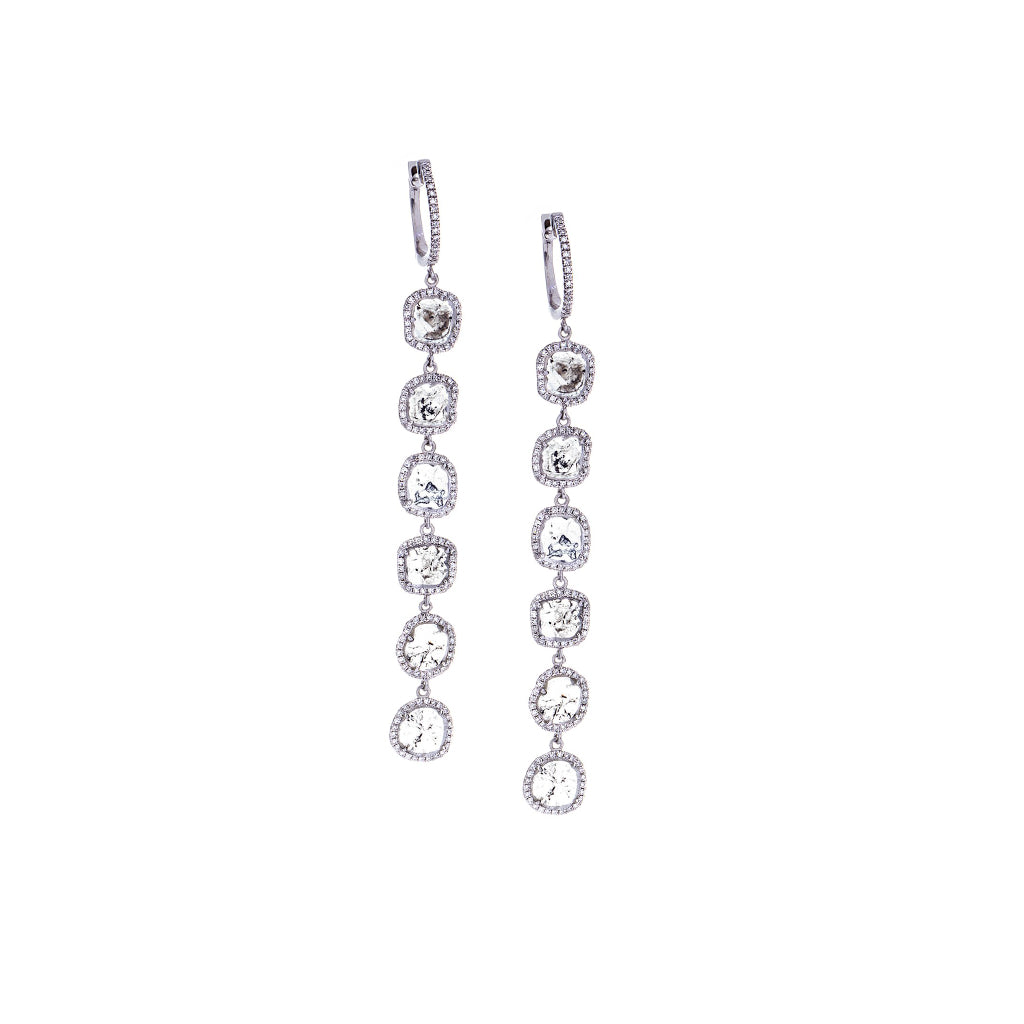 Sliced/Pavé Diamonds &14K White Gold Earrings - SOLD
