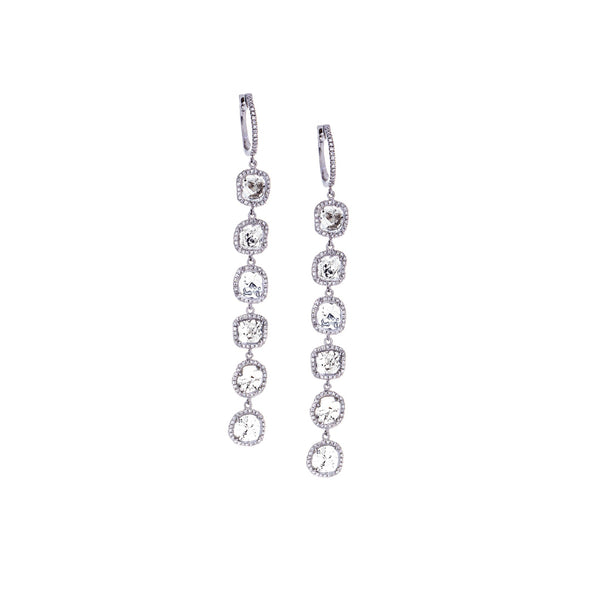 Sliced/Pavé Diamonds &14K White Gold Earrings - SOLD/CAN BE SPECIAL ORDERED WITH 4-6 WEEKS DELIVERY TIME FRAME
