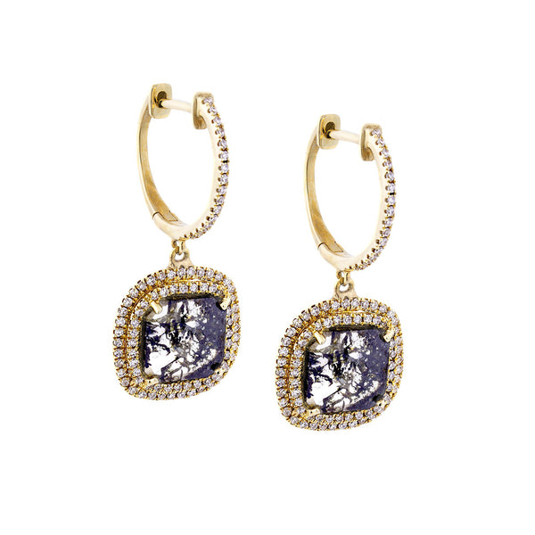 Sliced Diamond, Pavé & 14K Yellow Gold Drop Earrings - SOLD/CAN BE SPECIAL ORDERED WITH 4-6 WEEKS DELIVERY TIME FRAME
