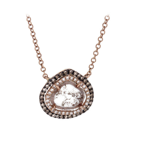 Sliced & Pave Diamond 14K Rose Gold Necklace