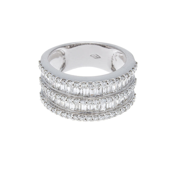 Triple Decker Diamond & 18K White Gold Cocktail Ring - SOLD