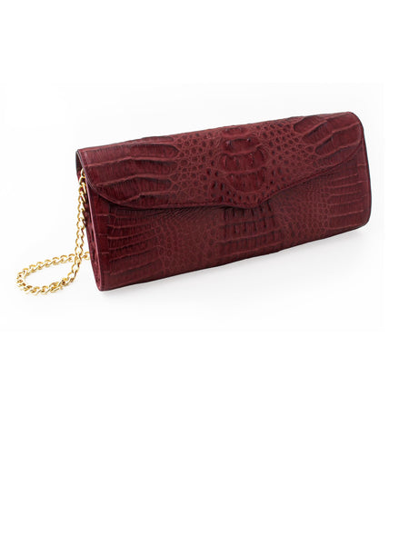 Victoria Columbian Crocodile Hornback Flap Clutch - Wine