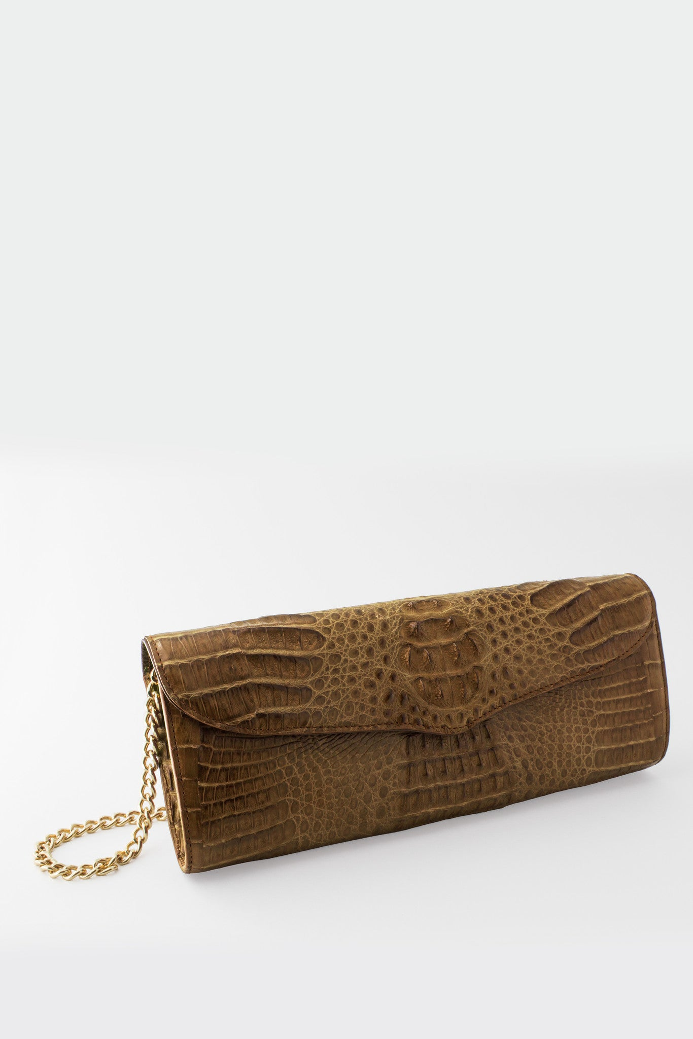 Victoria Columbian Crocodile Hornback Flap Clutch - Cigar