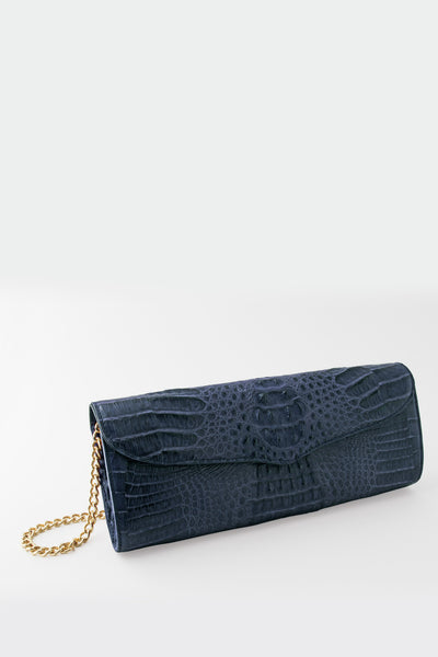 Victoria Columbian Crocodile Hornback Flap Clutch - Navy Blue