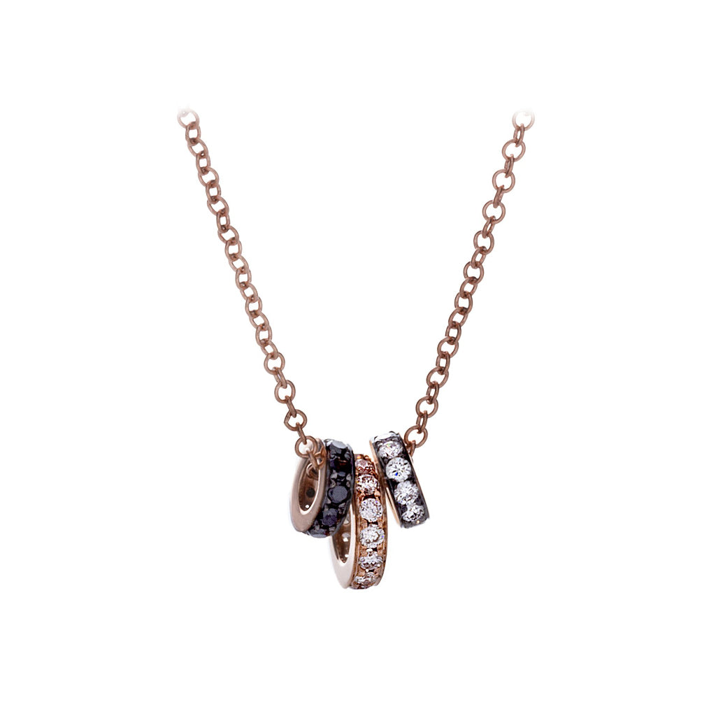 White & Black Diamonds & 14K Rose Gold Necklace