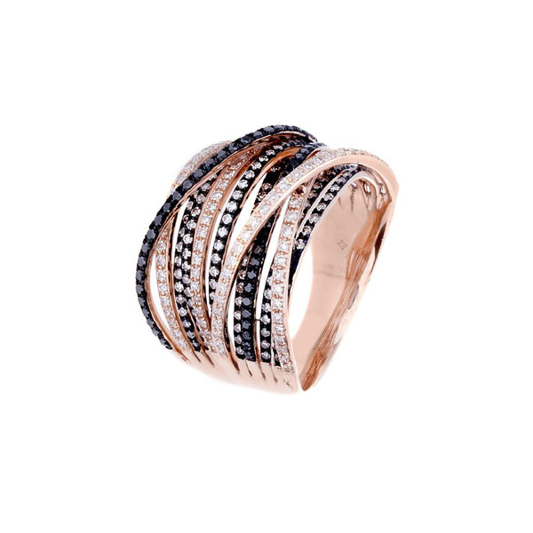 White/Black Diamonds & 14K Rose/Blackened Gold CrissCross Ring