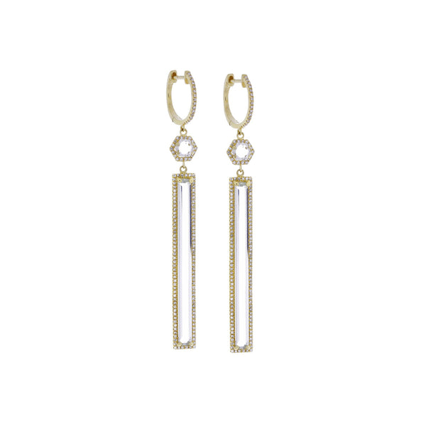 Topaz, Diamond & 14K Yellow Gold Earrings