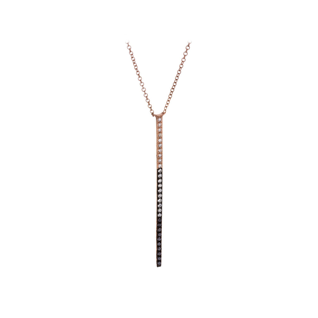 White & Black Diamonds & 14K Rose Gold Necklace - SOLD/CAN BE SPECIAL ORDERED WITH 4-6 WEEKS DELIVERY TIME FRAME
