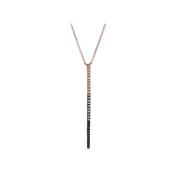 White & Black Diamonds & 14K Rose Gold Necklace - SOLD