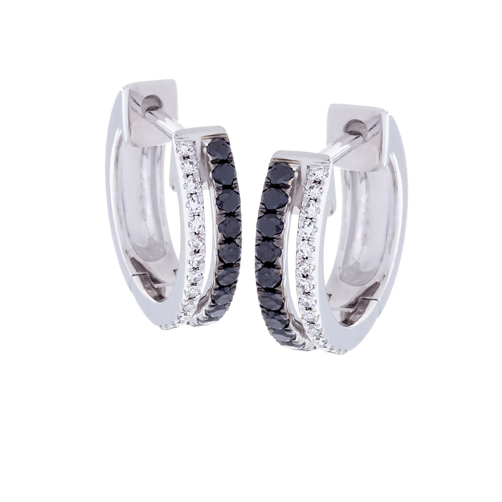 White & Black Diamonds & 14K White Gold Earrings