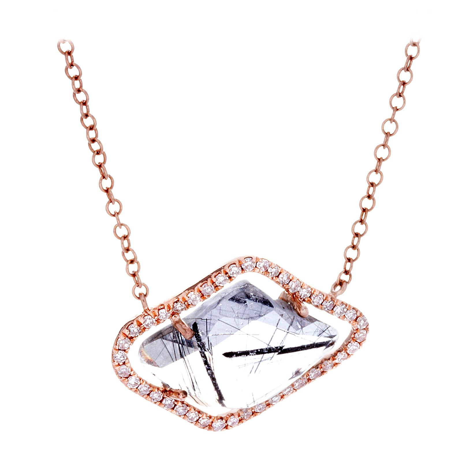 Diamonds, Ritulated Quartz & 14K Rose Gold Necklace