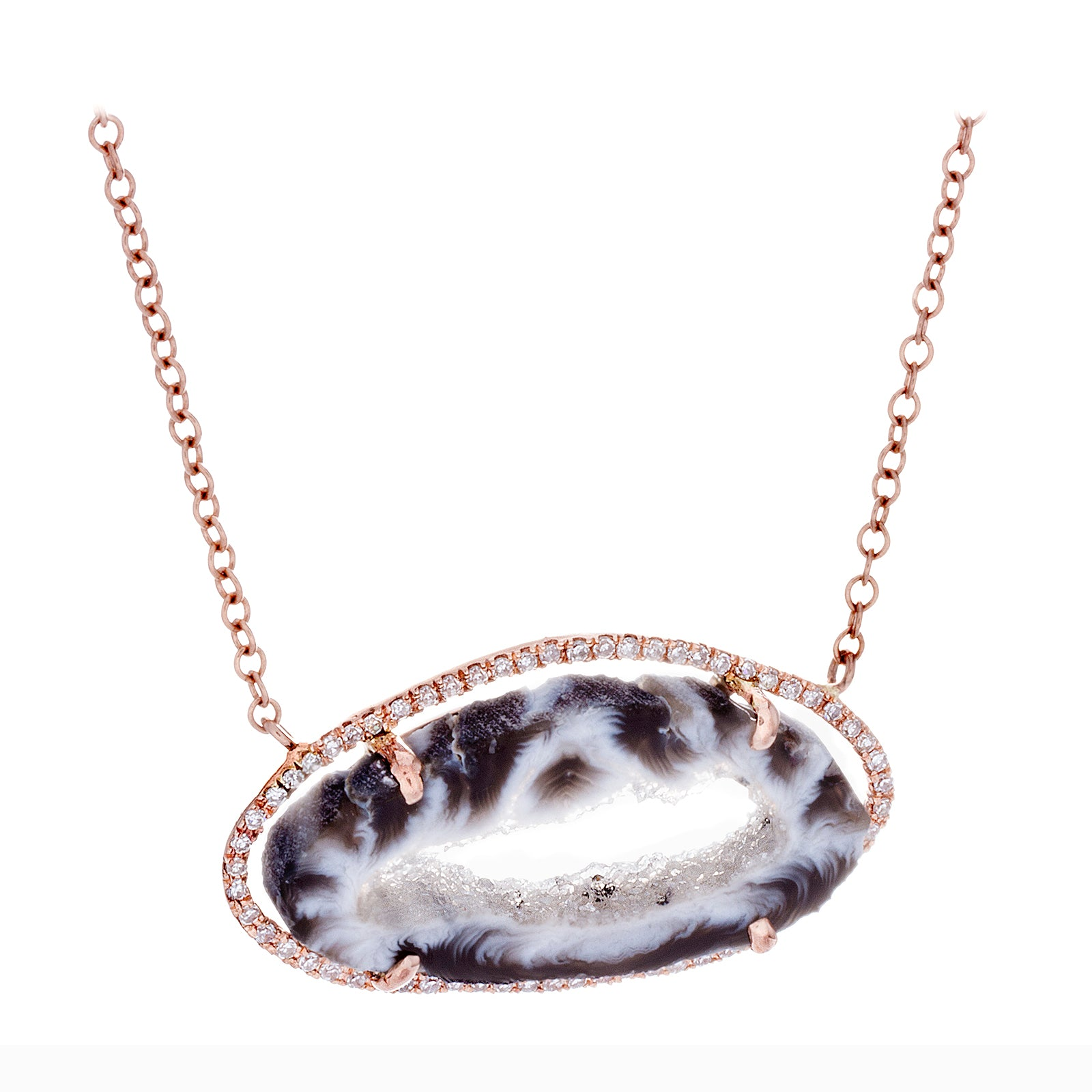 Diamonds, Agate & 14K Rose Gold Necklace