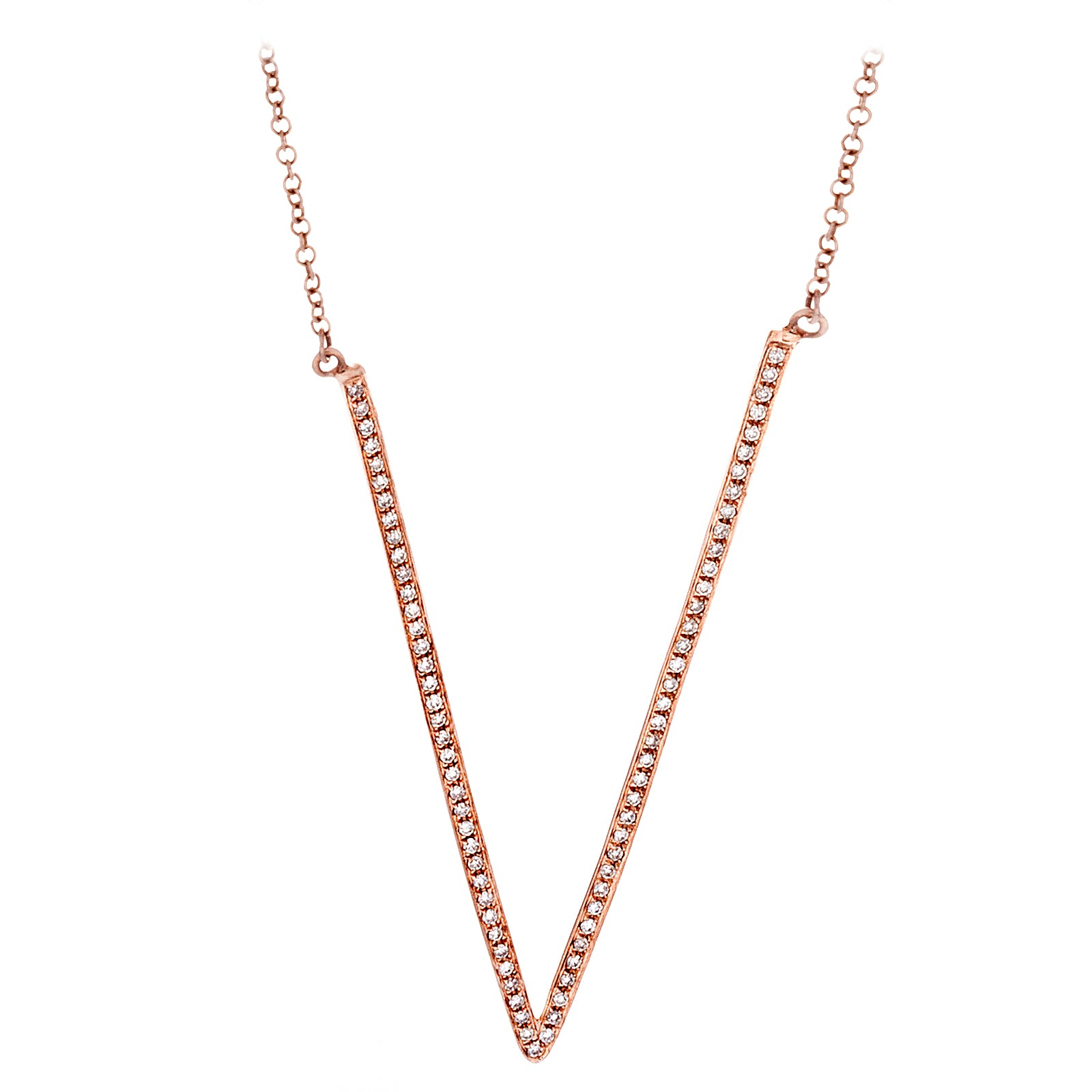 Diamonds & 14K Rose Gold V Necklace - SOLD